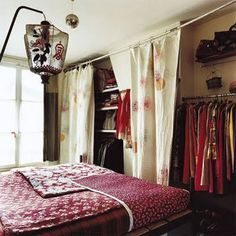 Small Space Storage Inspiration: Curtained Closets