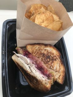 Order this seasonal sandwich at Jolly Holiday Bakery Cafe. It's like Thanksgiving Morning in a sandwich! Use mobile ordering on your app and avoid waiting in long lines! Homemade Chips, Jolly Holiday, Bakery Cafe, Disney Food, Freshly Baked, Sandwiches, Waiting, Thanksgiving, Lunch