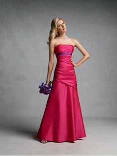 A-ligne sans bretelles robes demoiselle honneur en taffetas