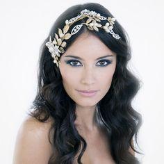 Gold wedding headpiece
