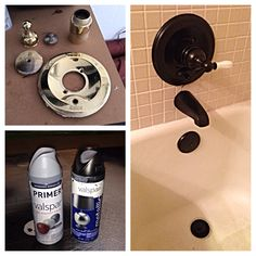 DIY bathroom fixtures! 2 coats gray primer spray paint then 3-4 coats of oil rubbed bronze spray paint