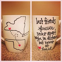 Long Distance State Friends/Couple Mugs by thebeezeknees on Etsy, $42.00. Did this for my boyfriend and he loved it!