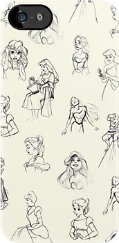 Sketched Princesses by lunalalonde love this, I would get this if I had an iPhone.
