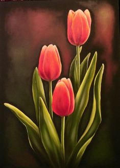 Tulip Painting, Acrylic Painting Canvas, Canvas Art, Painting Flowers, Watercolor Flowers, Watercolor Paintings, Flower Art Drawing, Indian Art Paintings, Flower Canvas