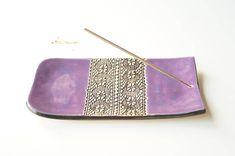 Purple Incense Holder Incense Burner Ceramic Incense Tray