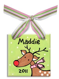 Personalized Christmas Ornament x Flat Each ornament is personalized with a name and a year,and is perfectl Painted Christmas Ornaments, Reindeer Ornaments, Christmas Canvas, Christmas Paintings, Christmas Gifts For Kids, How To Make Ornaments, Holiday Ornaments, Christmas Projects, Kids Christmas