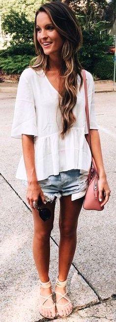 #summer #trendy #outfits  | White Peplum Top   Denim Shorts