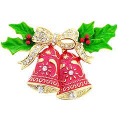 @Overstock - Goldtone Enamel and Gemstone Christmas Bell Pin Brooch - A stone-studded bow and sweet holly boughs top this Christmas bell brooch with a festive design. Brightly colored enamel and more crystals complete this merry holiday pin.  http://www.overstock.com/Jewelry-Watches/Goldtone-Enamel-and-Gemstone-Christmas-Bell-Pin-Brooch/8331576/product.html?CID=214117 $16.99