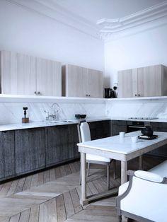 Patrick Giles + Dorothée Boissier, architecture and design practice.  air of Parisian elegance in that kitchen