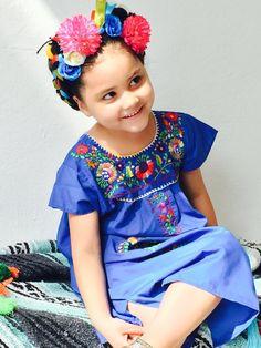 a9ef9c4a293b Mexican embroider empire girls summer dress
