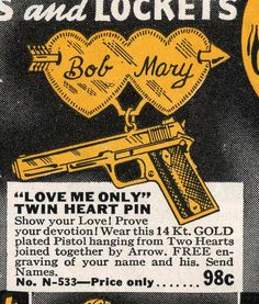 """""""Love Me Only"""" Twin Heart Pin Pistol hanging from two hearts… SEND NAMES. 'til Death Do Us Part by wackystuff, via Flickr"""