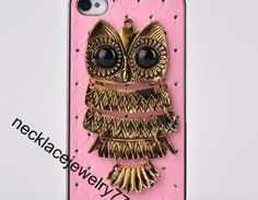 Antique Owl Iphone Case, Pink Color..