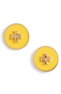 Kira Enamel Circle Stud Earrings Tory Burch, Studs, Nordstrom, Stud Earrings, Enamel, Logo Style, Accessories, Number, Yellow