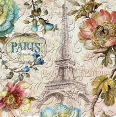 Charlton Home These Eidelweiss Paris Forever Embossed Paper Disposable Napkins will look great at your next gathering. The napkins have a romantic French design with softly colored flowers and the Eiffel tower. They come in a pack of 20 napkins. Papel Vintage, Decoupage Vintage, Vintage Paper, Decoupage Ideas, Decoupage Glass, Paper Napkins For Decoupage, Decorative Paper Napkins, Diy Crafts Vintage, Collage