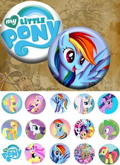 """My little Pony4s -One 4x6 high-resolution 300dpi JPEG file with 15 1"""" Circle images. (1.69 USD) by FlowerImpression"""