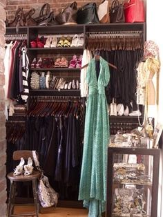 """""""Build a naked closet on a bare wall of your bedroom. Hang a curtain rod from the celing and attach a snazzy curtain to pull to cover and viola! new, bigger, and tailored closet to your needs."""" Now you have an empty closet for that sleeping nook!"""