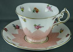 Paragon Bone China Tea Cup and Saucer Embossed Pink with Mini Roses Violets