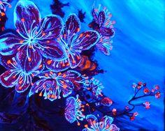 """tableau peinture fluo """" Fleurs aquatiques """" : Peintures par babslight"""