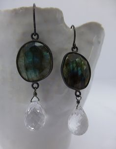 Calliope Jewelry: Oxidized sterling silver with labradorite and quartz drops.