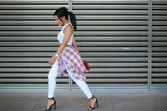 Topshop jeans, H&M crop top, Zara shirt, River Island heels