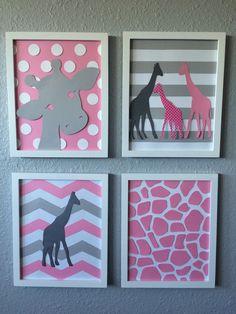A personal favorite from my Etsy shop https://www.etsy.com/listing/255325537/giraffe-nursery-art-pink-grey-gray