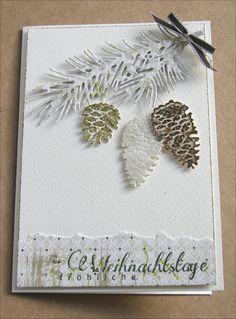 """--> Stanzen: Tannenzapfen aus den Shapeabilities """"Fall Foliage"""" von Spellbinders, Tannenzweig von Impression Obsession winter card"""