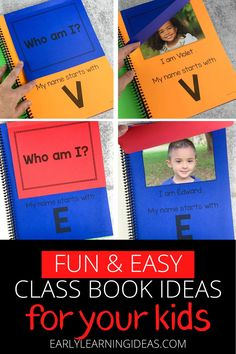 Class books are often the most engaging books in a preschool or kindergarten classroom reading corner. Click to find 20 fun ideas and learn how to make DIY class books for kids at school & home. From Pete the cat, brown bear brown bear, chicka chicka boom boom, and MORE. Use these fun books to teach letters, rhyming, beginning sounds, and other literacy concepts. This is a fun way to build a classroom community at the beginning of the year during an all about me unit and beyond. Circle Time Activities, Language Activities, Literacy Activities, Preschool Books, Kindergarten Classroom, Teaching Letters, Teaching Kids, Reading Corner Classroom, Friendship Lessons