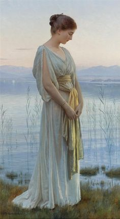 Max Nonnenbruch - Evening by the Lake, art, painting, classical art Art And Illustration, Classic Paintings, Fine Art Paintings, Most Beautiful Paintings, European Paintings, Classical Art, Classical Elements, Renaissance Art, Female Art