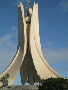 Monument des Martyrs in Algeria, Maquam E' chahid, an iconic concrete monument commemorating the  Algerian war for independence