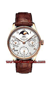 IW502213 - This IWC Portuguese Perpetual Calendar II watch in rose gold features a 42.3mm case, silver dial, and crocodile strap with deplyant buckle. The IWC Portuguese Perpertual Calendar II watch also features an automatic movment with patented Pellaton Winding System - See more at: http://www.worldofluxuryus.com/watches/IWC/Discontinued-Models/502.213/185_789_1013.php#sthash.4cLrEy5y.dpuf