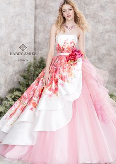 pretty floral and tulle ballgown