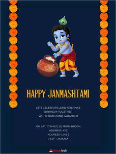 Free Invitation Cards, E Invite, Online Invitations, Digital Invitations, Invitation Design, Birthday Invitations, Happy Janmashtami, Krishna Janmashtami, Lord Krishna Birthday