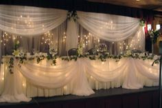 bridal table back drop ideas   Fairy Light Backdrop and Fairy Light Head Table