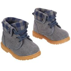 "Obsessed with these baby boy boots. Koala Baby Boys' Hard Sole Lumberjack Boots - Blue/Gray - Babies R Us - Babies ""R"" Us Baby Boy Shoes, Baby Boy Outfits, Kids Outfits, Winter Outfits, Boys Shoes, Baby Boys, Toddler Boys, Carters Baby, Baby Gap"
