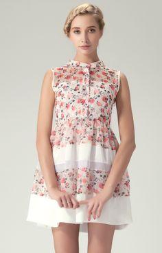 Vestido combinado estampado flores-Blanco