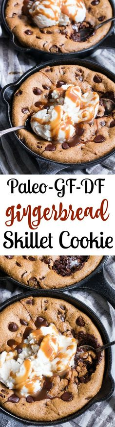 This fudgy gingerbread chocolate chip skillet cookie is out-of-this-world delicious.  Made withcoconut flour and almond butter for the perfect dense, chewy texture, spiced just right and sweetened with coconut sugar and molasses. Coconut vanilla ice cream and dairy-free salted caramel to top makes this dessert perfectly decadent for the holidays or anytime!