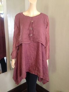 Lagenlook Washed Linen Tunic with Gauze Topper 2 Piece Hand