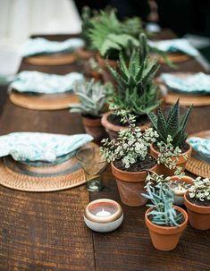 Une décoration de table d'été végétale grâce à l'accumulation de petites plantes grasses