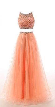 Two Piece Prom Dress, Beading Prom Dress, Pretty Prom Dress