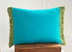 Dark aqua 14x18 pillow cover set with green fringe by marygamelin