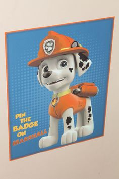 Pin the badge on Marshall from nick jr website. Paw patrol party