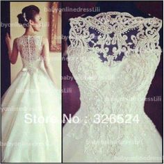 New Arrival vestido de noiva wedding dress 2014 high neck lace see through ball gown bridal dress bridal gown BO3039