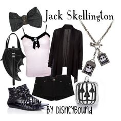 Jack Skellington by disneybound.  Don't think I could do the shoes though, they are kind of icky