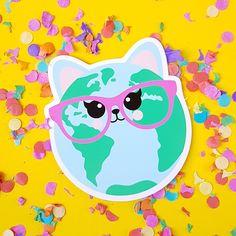 Cute cat world vinyl sticker. Looks great on your laptop, notebook or window