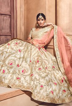 Cream bridal Lehenga - Desi Royale