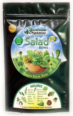 Garden Salad Bowl Pack $49 - Garden Salad Seeds - 12 Varieties - 100% Open Pollinated.