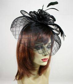 Black Fascinator Feather Flower Headband Clip Veil Net