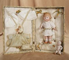 """8"""" (20 cm.) German All-Bisque Character Girl in Presentation Box 500/800"""