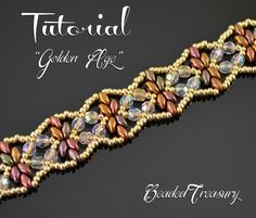 Golden Age - superduo bead pattern, beading tutorial, beadwoven bracelet pattern, seed beads, fire-polished beads / TUTORIAL ONLY by BeadedTreasury on Etsy https://www.etsy.com/listing/254888268/golden-age-superduo-bead-pattern-beading