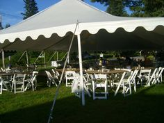 Wedding reception tent prior to the decorations and linens arriving at The Alpine Homestead in the Adirondacks in upstate NY
